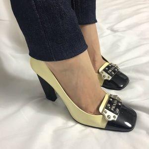 Prada Square Cap Toe Chunky Heels Cream Black 37.5